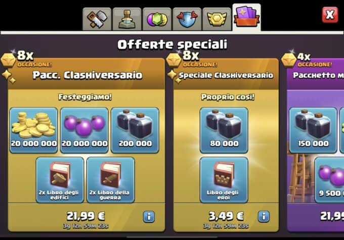 clash of clans offerte