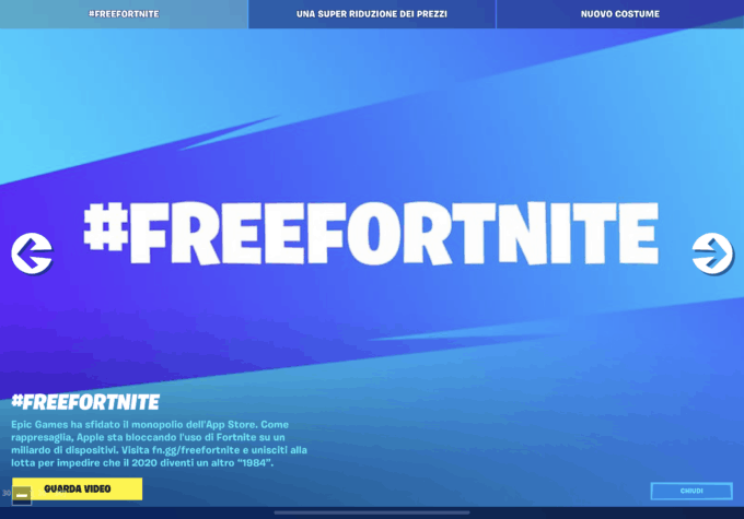 Apple e Google rimuovono Fortnite dagli Store. Epic Games denuncia immediatamente. #freefortnite