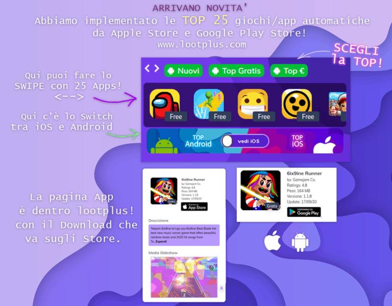 App Store e Google Play Store dentro a Lootplus! Nuova funzione nel nostro progetto!